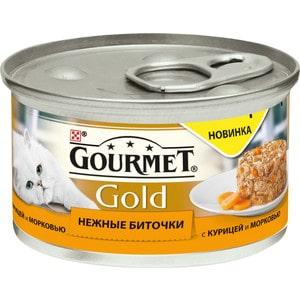 Консервы Gourmet Gold нежные биточки с курицей и морковью для кошек 85г (12296405) корм для кошек gourmet gold нежные биточки ягненок фасоль конс 85г