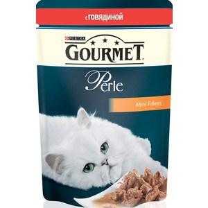 Паучи Gourmet Perle Mini Fillets с говядиной для кошек 85г (12215233) гурме консервы пауч с лососем для кошек gourmet perle mini fillets 85 г
