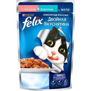 Паучи Felix Двойная вкуснятина аппетитные кусочки в желе с лососем & форелью для кошек 85г (12294937) felix паучи felix двойная вкуснятина для взрослых кошек аппетитные кусочки с ягненком и курицей в желе 85 г