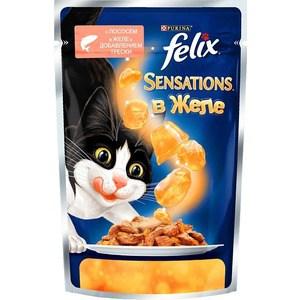 Паучи Felix Sensations кусочки с лососем в желе с добавлением трески для кошек 85г (12318961) whiskas корм для кошек вискас желе с лососем конс 85г
