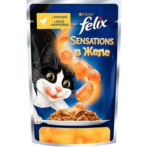 Паучи Felix Sensations кусочки с курицей в желе с морковью для кошек 85г (12318964) felix паучи felix двойная вкуснятина для взрослых кошек аппетитные кусочки с ягненком и курицей в желе 85 г