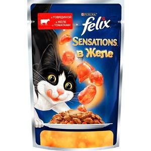 Паучи Felix Sensations кусочки с говядиной в желе с томатами для кошек 85г (12232833) sheba appetito ломтики в желе с говядиной и кроликом для кошек 85г 10161708