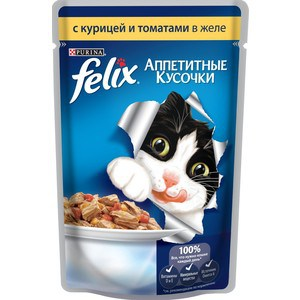 Паучи Felix Аппетитные кусочки с курицей и томатами в желе для кошек 85г (12114152)