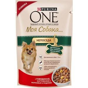 Паучи Purina One Моя собака непоседа с говядиной, картофелем и морковью в подливе для маленьких собак с активным образом жизни 100г (12324371)