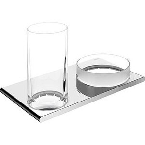 Держатель двойной со стаканом и хрустальной чашей для мелочей Keuco Edition 400 (11554019000) полочка для душа со скребком keuco edition 400 11559170000