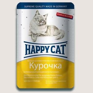 Паучи Happy Cat Курочка нежные кусочки и ломтики в яичном соусе для взрослых кошек 100г (1002305) паучи happy cat тунец кусочки в желе для взрослых кошек 100г 1002309