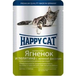 Паучи Happy Cat Ягненок и телятина с зеленой фасолью кусочки в желе для взрослых кошек 100г (1002307) корм для кошек happy cat ягненок fit