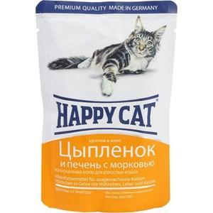 Паучи Happy Cat Цыпленок и печень с морковью кусочки в желе для взрослых кошек 100г (1002308) цена 2017
