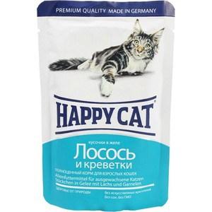 Паучи Happy Cat Лосось и креветки кусочки в желе для взрослых кошек 100г (1002310) mealfeel пауч для взрослых кошек лосось и креветки в соусе с кусочками куриного филе 100 гр