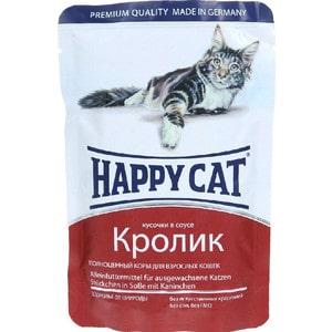 Паучи Happy Cat Кролик кусочки в соусе для взрослых кошек 100г (1002313) игрушка для кошек beeztees happy cat погоняй мячик