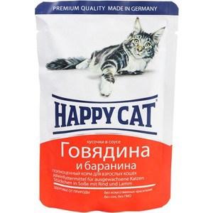 Паучи Happy Cat Говядина и баранина кусочки в соусе для взрослых кошек 100г (1002314) отсутствует блюда из мяса телятина говядина баранина свинина isbn 978 5 699 60128 8