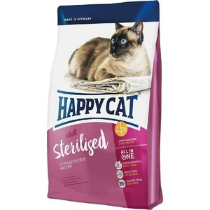 Сухой корм Happy Cat Adult Sterilised For Neutered Cats с мясом птицы для стерилизованных кошек 10кг (70238) whiskas temptations hearty beef flavour treats for cats