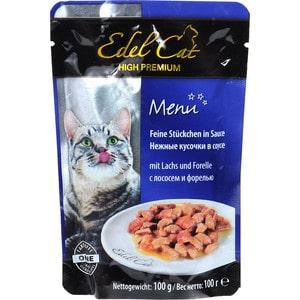 Паучи Edel Cat Menu нежные кусочки в соусе с лососем и форелью для кошек 100г (08100) консервы edel cat menu нежный паштет с лососем и форелью для кошек 100г 17401