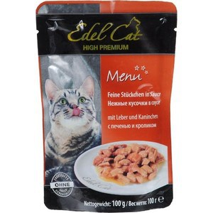 Паучи Edel Cat Menu нежные кусочки в соусе с печенью и кроликом для кошек 100г (08101) консервы edel cat menu нежный паштет с лососем и форелью для кошек 100г 17401