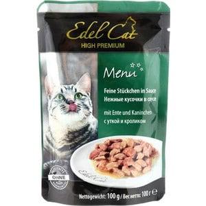 Паучи Edel Cat Menu нежные кусочки в соусе с уткой и кроликом для кошек 100г (08103) консервы edel cat menu нежный паштет с лососем и форелью для кошек 100г 17401