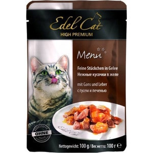 Паучи Edel Cat Menu нежные кусочки в желе с гусем и печенью для кошек 100г (08104) консервы edel cat menu нежный паштет с лососем и форелью для кошек 100г 17401