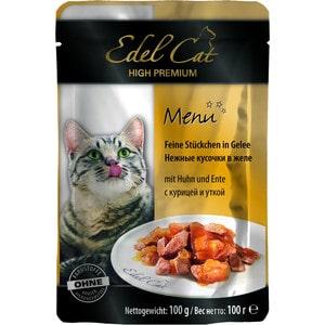 Паучи Edel Cat Menu нежные кусочки в желе с курицей и уткой для кошек 100г (08106) консервы edel cat menu нежный паштет с лососем и форелью для кошек 100г 17401