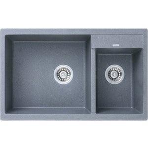 Кухонная мойка Kaiser Granit 80x50x19 серый (KG2M-8050-G) мойка кухонная weissgauff quadro 575 eco granit белый