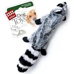 Игрушка GiGwi Dog Toys Squeaker шкурка енота с пластиковой бутылкой пищалка для собак (75270)