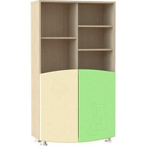 Шкаф для книг Compass ДК-4К эвалипт шагрень/ваниль шагрень