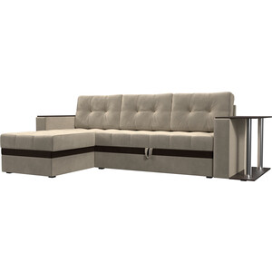 Фотография товара диван угловой АртМебель Атланта микровельвет бежевый левый (683750)