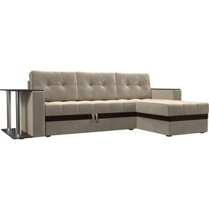 Фотография товара диван угловой АртМебель Атланта микровельвет бежевый правый (683751)