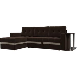 Фотография товара диван угловой АртМебель Атланта микровельвет коричневый левый (683752)