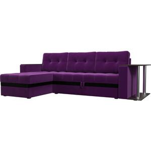 Фотография товара диван угловой АртМебель Атлант микровельвет фиолетовый левый (683754)