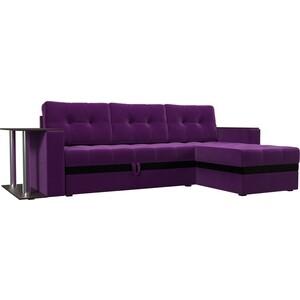 Фотография товара диван угловой АртМебель Атлант микровельвет фиолетовый правый (683755)