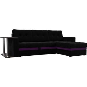 Фотография товара диван угловой АртМебель Атлант микровельвет черный правый (683757)