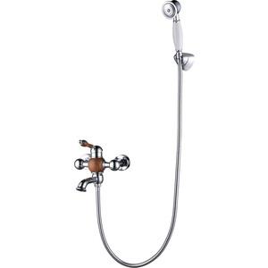 цены Смеситель для ванны Kaiser Wood короткий излив, хром/дерево (61022)