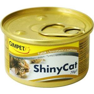 Консервы Gimborn Gimpet ShineCat тунец с креветками и солодом для кошек 70г (413372) gimpet shinycat консервированный корм для кошек тунец цыпленок 70 г