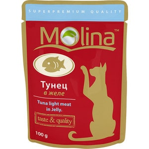 Паучи Molina Taste & Quality Tuna Light Meat in Jelly тунец в желе для кошек 100г (1136) паучи molina taste