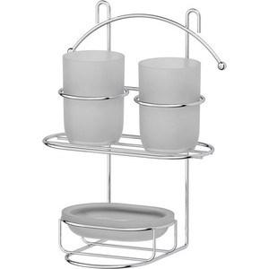 Держатель с 2-мя стаканами и мыльницей Sorcosa Deco для крепления на вакуумных присосках, хром (GHI 108) косметическое зеркало двустороннее x2 sorcosa plain хром sor 002
