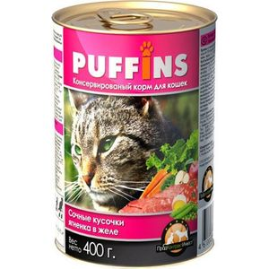 Фотография товара консервы Puffins Сочные кусочки ягненка в желе для кошек 400г (686929)