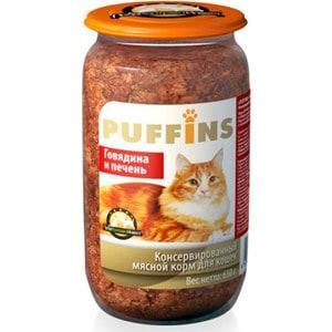 Консервы Puffins Говядина и печень для кошек 650г