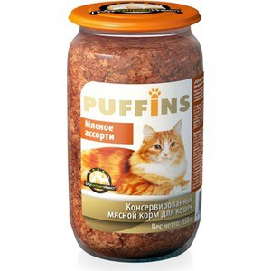 Консервы Puffins Мясное ассорти для кошек 650г консервы puffins говядина и печень для кошек 650г