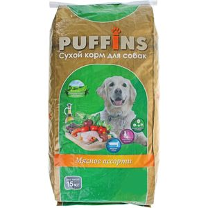 Сухой корм Puffins Мясное ассорти для собак 15кг корм rocky мясное ассорти птица печень 100g для собак 81004