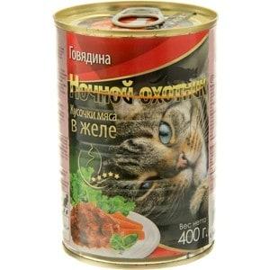 Фотография товара консервы Ночной охотник Кусочки мяса в желе говядина для кошек 400г (686969)