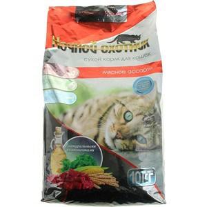 Сухой корм Ночной охотник Мясное ассорти для взрослых кошек 10кг корм сухой для кошек васька для профилактики мочекаменной болезни мясное ассорти 10 кг
