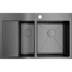 Кухонная мойка Omoikiri Akisame 78-2-GM-R, 780x510, вороненая сталь (4973102) omoikiri мойка omoikiri akisame oak 78 2 in gm черная c 13nn ks