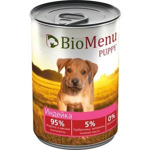 Консервы BioMenu Puppy Индейка 95% индейка и мясные компоненты для щенков 410г