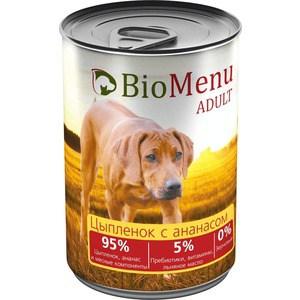 Фото - Консервы BioMenu Adult Цыпленок с ананасом 95% цыпленок, ананас и мясные компоненты для собак 410г trixie стойка с мисками trixie для собак 2х1 8 л
