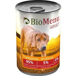 Консервы BioMenu Adult Говядина и ягненок 95% говядина, ягненок и мясные компоненты для собак 410г