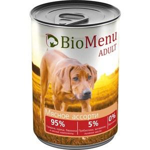 Консервы BioMenu Adult Мясное ассорти 95% говядина,курица,баранина и мясные компоненты для собак 410г консервы для собак вилли хвост мясное ассорти 1 23 кг