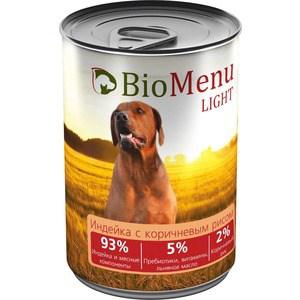 Консервы BioMenu Light Индейка с коричневым рисом 93% индейка и мясные компоненты для собак 410г