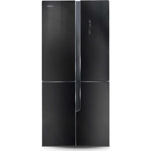 Холодильник Ginzzu NFK-500 черное стекло meterk черное серебро