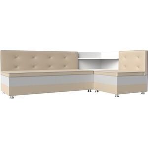 Кухонный диван АртМебель Милан эко-кожа бежевый-белый правый