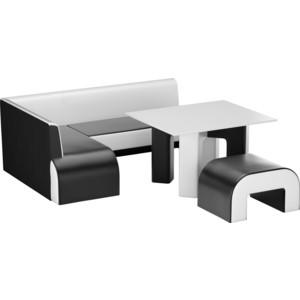 Кухонный уголок АртМебель Кармен эко-кожа черно-белый левый кухонный уголок кармен левый