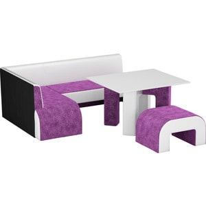 Кухонный уголок АртМебель Кармен микровельвет фиолетовый-белый левый кухонный уголок кармен левый